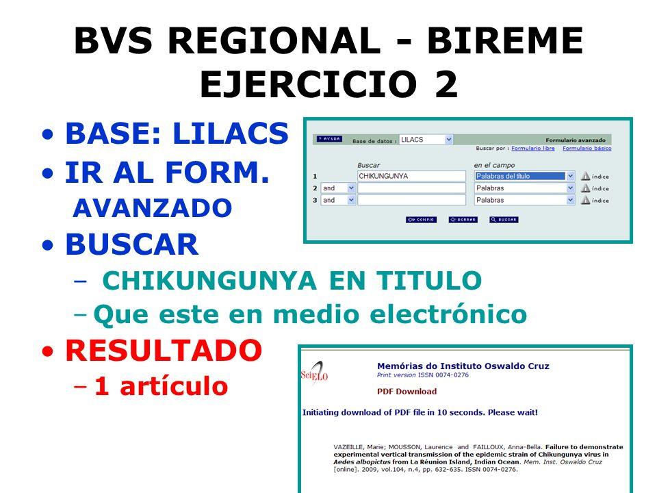 BVS REGIONAL - BIREME EJERCICIO 2