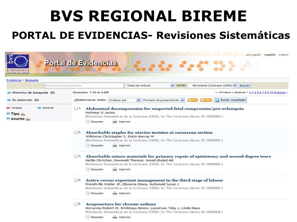 BVS REGIONAL BIREME PORTAL DE EVIDENCIAS- Revisiones Sistemáticas