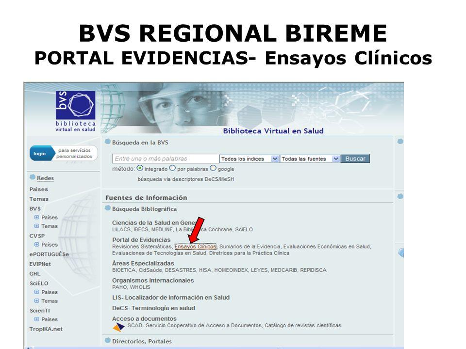 BVS REGIONAL BIREME PORTAL EVIDENCIAS- Ensayos Clínicos