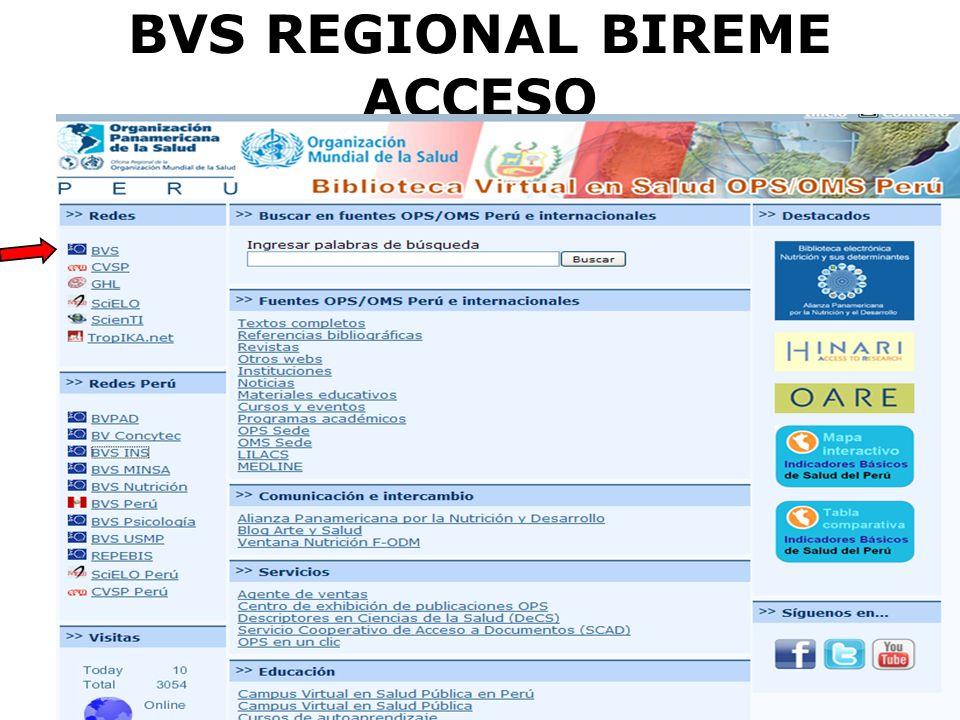 BVS REGIONAL BIREME ACCESO