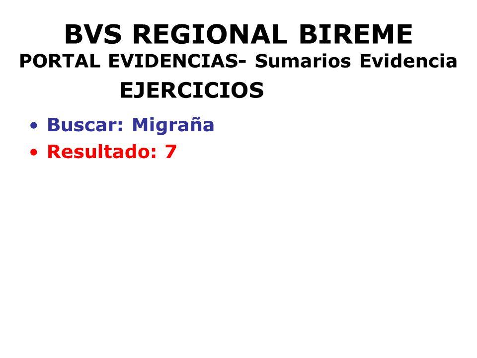 BVS REGIONAL BIREME PORTAL EVIDENCIAS- Sumarios Evidencia EJERCICIOS