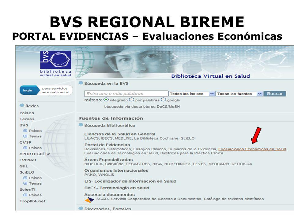 BVS REGIONAL BIREME PORTAL EVIDENCIAS – Evaluaciones Económicas