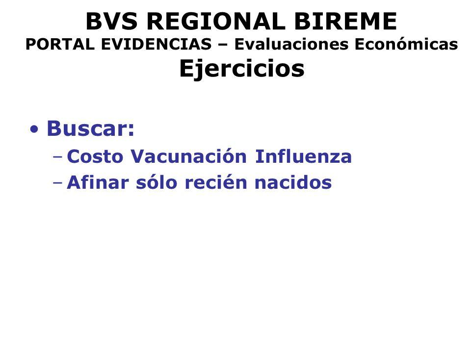 BVS REGIONAL BIREME PORTAL EVIDENCIAS – Evaluaciones Económicas Ejercicios