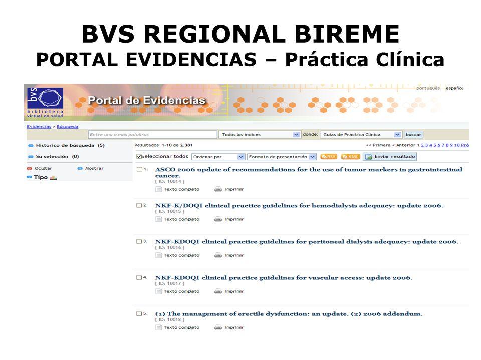 BVS REGIONAL BIREME PORTAL EVIDENCIAS – Práctica Clínica