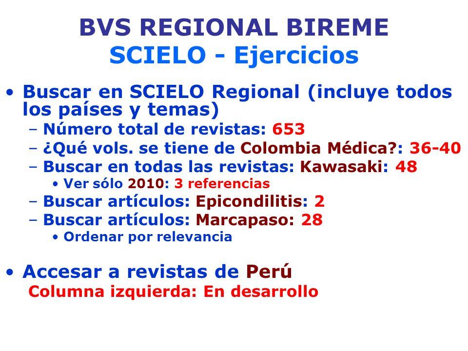 BVS REGIONAL BIREME SCIELO - Ejercicios