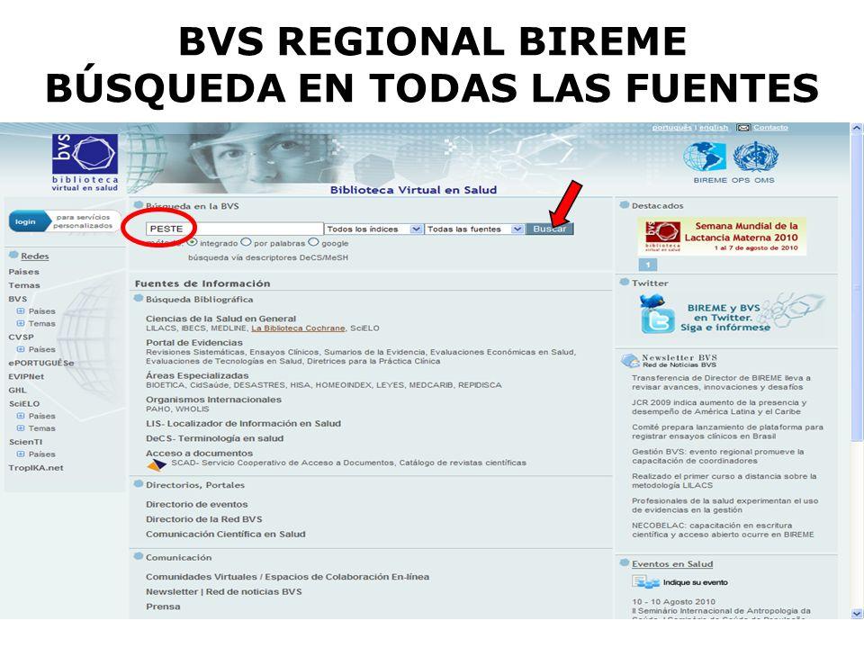 BVS REGIONAL BIREME BÚSQUEDA EN TODAS LAS FUENTES
