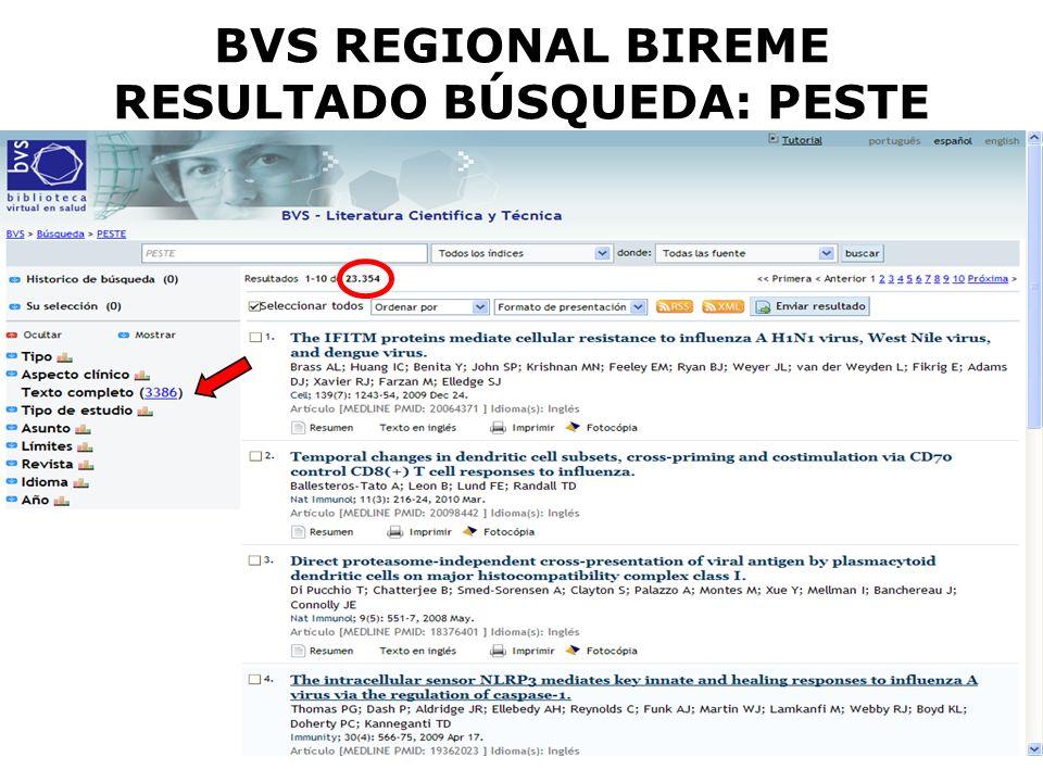 BVS REGIONAL BIREME RESULTADO BÚSQUEDA: PESTE