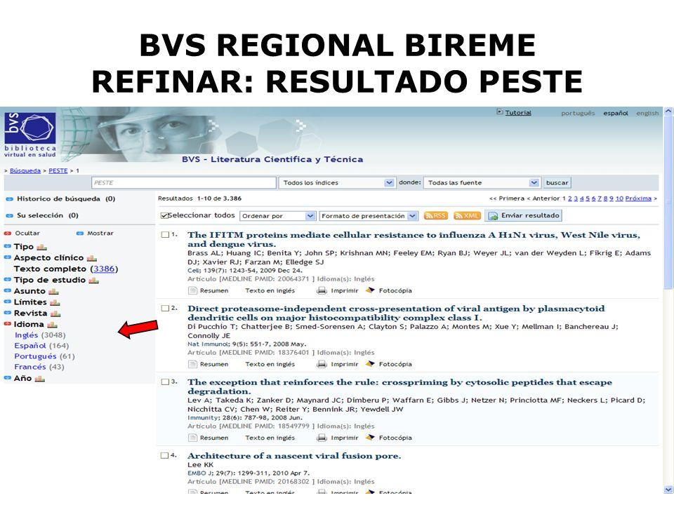 BVS REGIONAL BIREME REFINAR: RESULTADO PESTE
