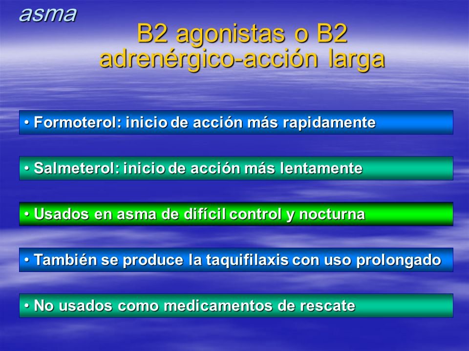 B2 agonistas o B2 adrenérgico-acción larga