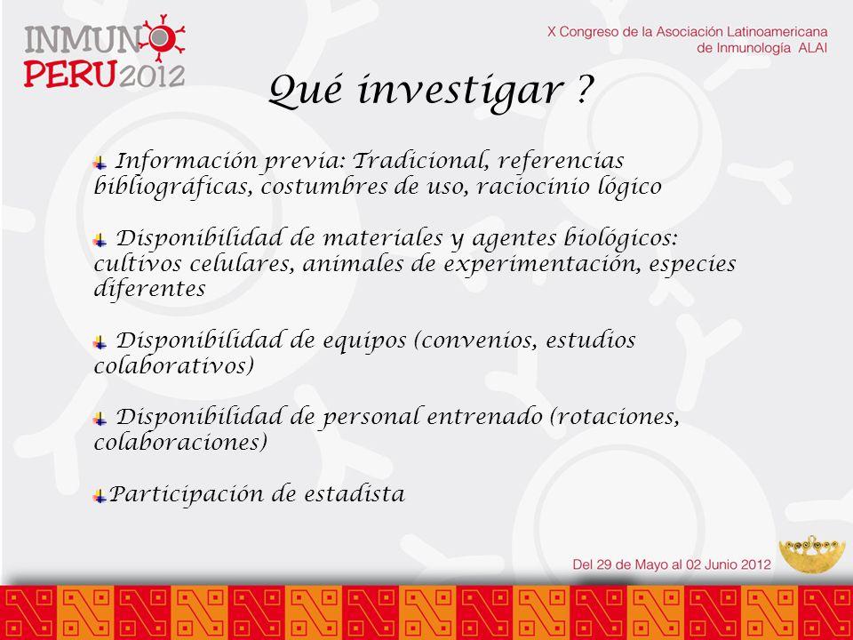 Qué investigar Información previa: Tradicional, referencias bibliográficas, costumbres de uso, raciocinio lógico.