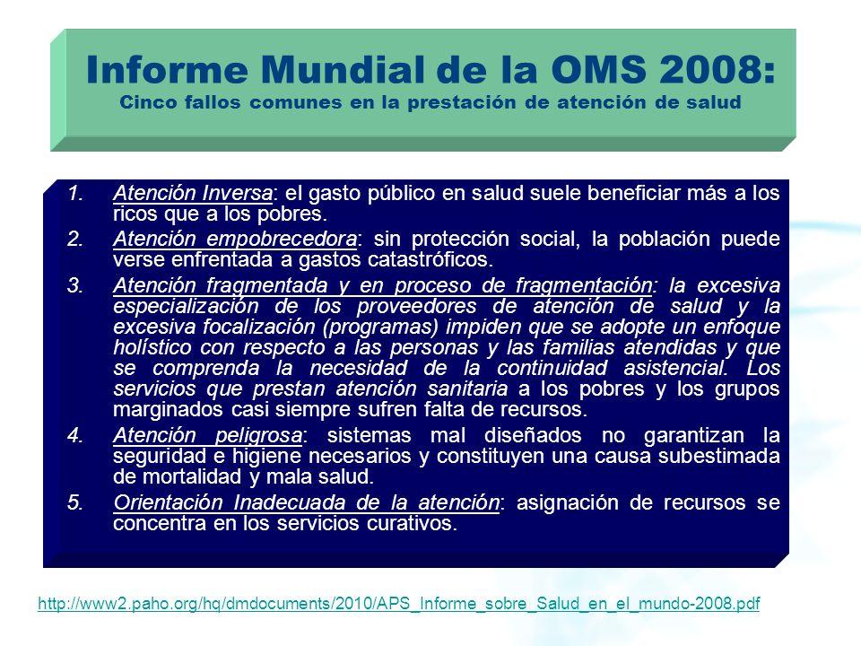 Informe Mundial de la OMS 2008: Cinco fallos comunes en la prestación de atención de salud