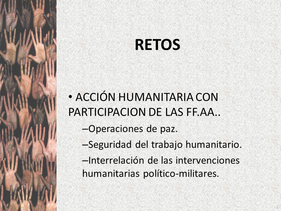 RETOS ACCIÓN HUMANITARIA CON PARTICIPACION DE LAS FF.AA..