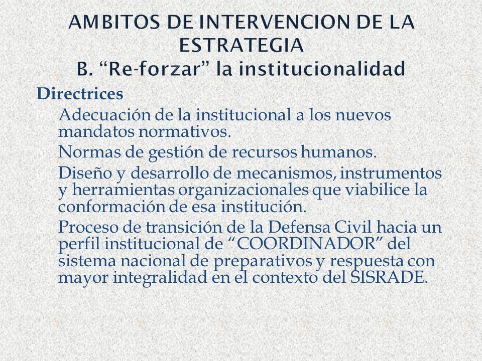 AMBITOS DE INTERVENCION DE LA ESTRATEGIA B