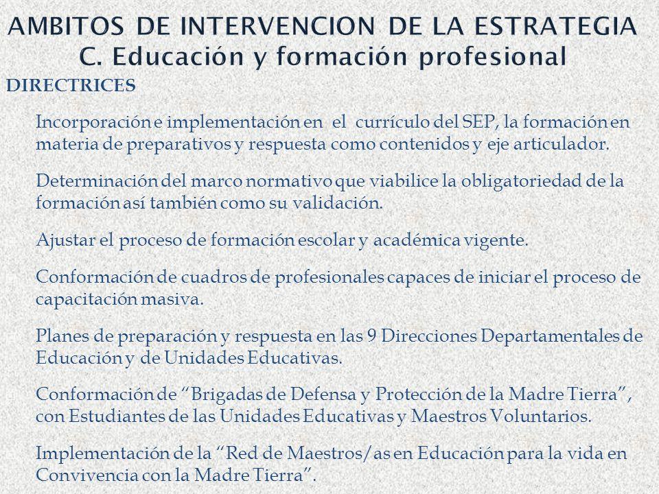 AMBITOS DE INTERVENCION DE LA ESTRATEGIA C
