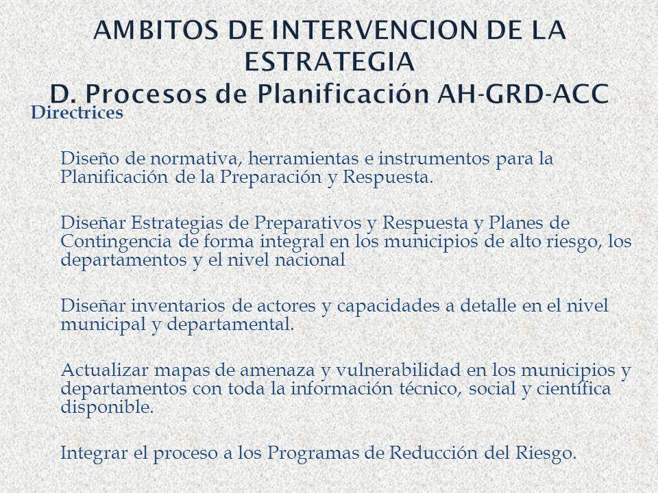AMBITOS DE INTERVENCION DE LA ESTRATEGIA D