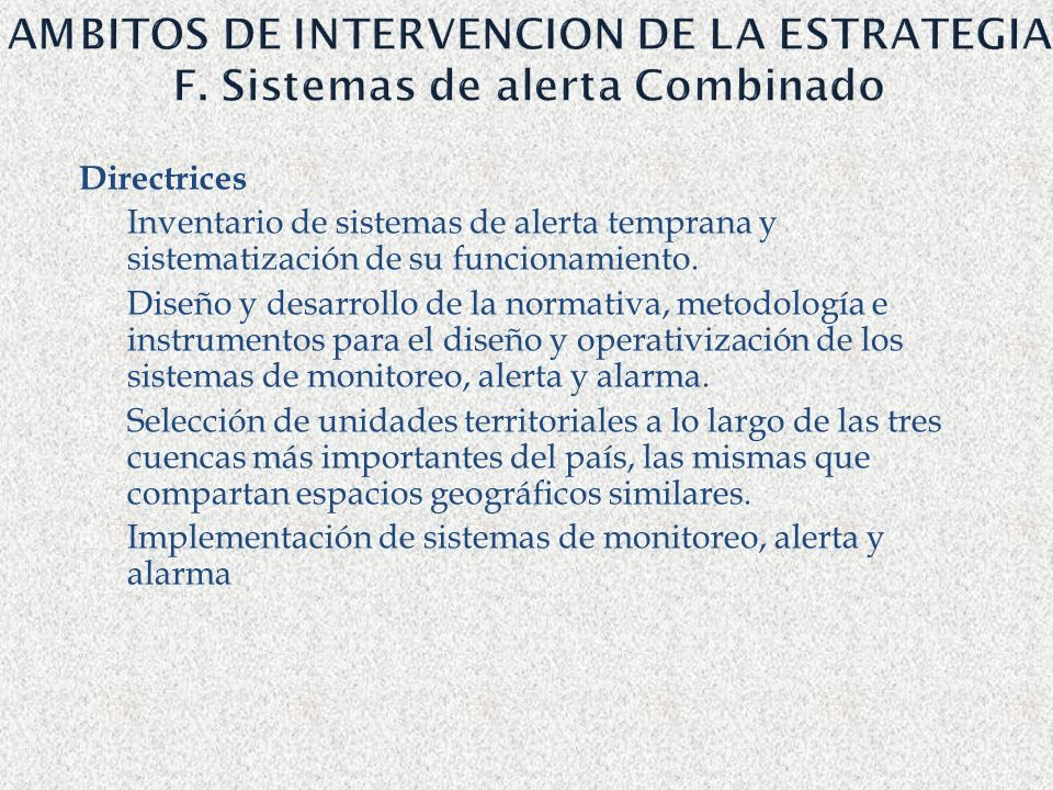 AMBITOS DE INTERVENCION DE LA ESTRATEGIA F