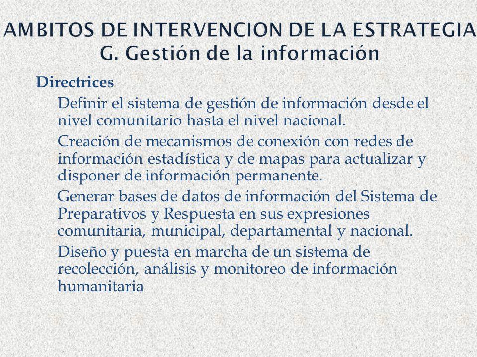 AMBITOS DE INTERVENCION DE LA ESTRATEGIA G. Gestión de la información