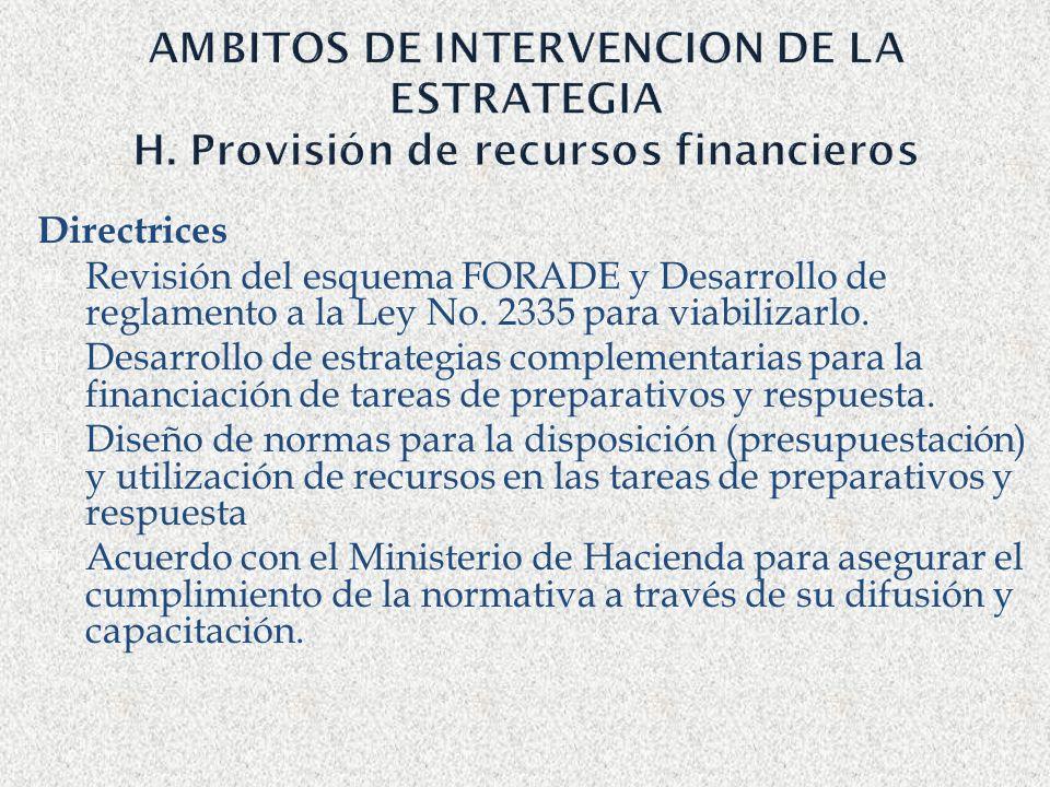 AMBITOS DE INTERVENCION DE LA ESTRATEGIA H