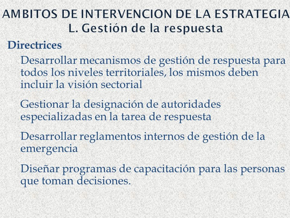 AMBITOS DE INTERVENCION DE LA ESTRATEGIA L. Gestión de la respuesta