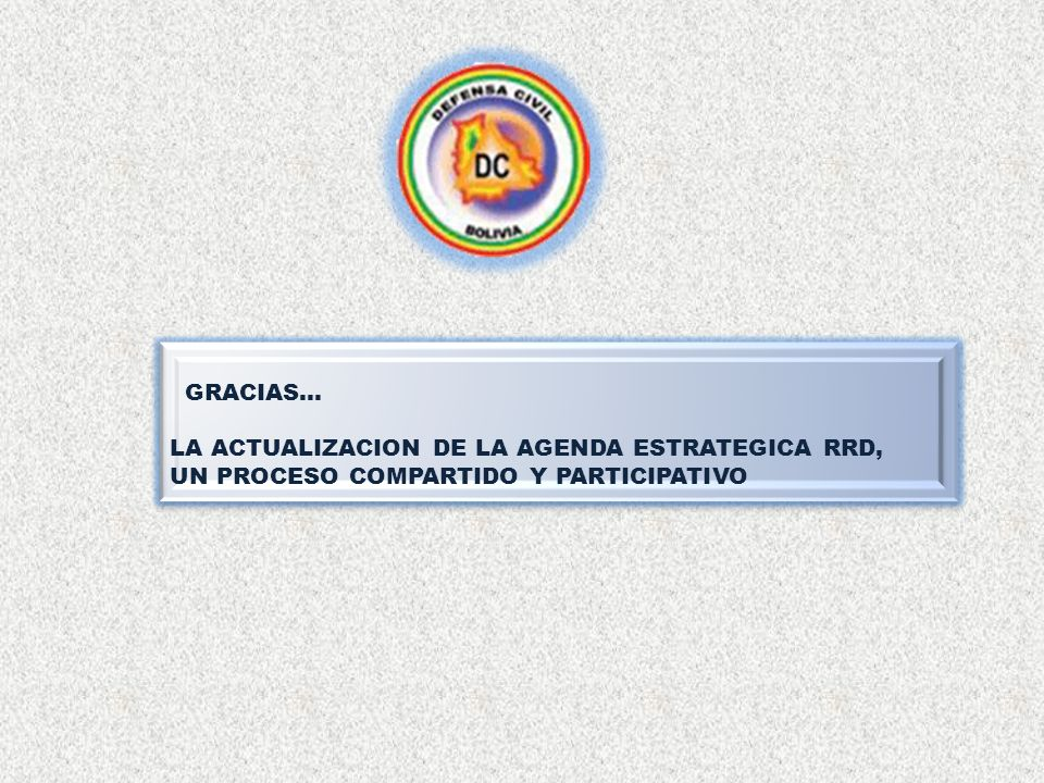 LA ACTUALIZACION DE LA AGENDA ESTRATEGICA RRD,