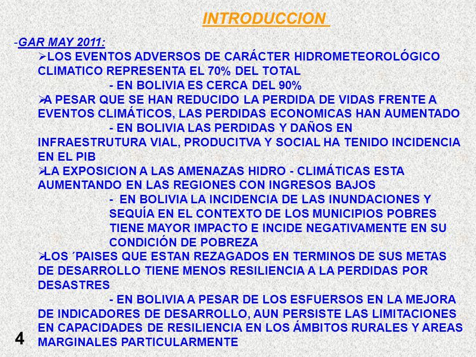 INTRODUCCION GAR MAY 2011: LOS EVENTOS ADVERSOS DE CARÁCTER HIDROMETEOROLÓGICO CLIMATICO REPRESENTA EL 70% DEL TOTAL.