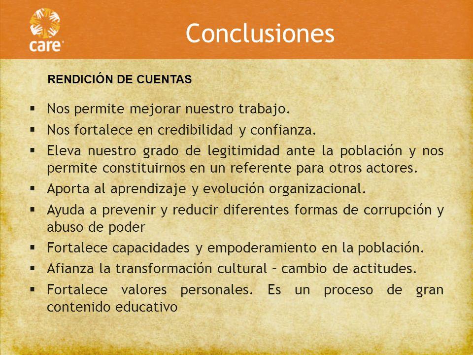 Conclusiones Nos permite mejorar nuestro trabajo.