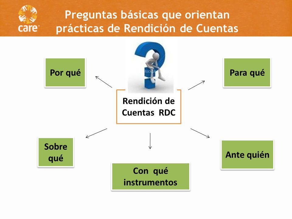 Preguntas básicas que orientan prácticas de Rendición de Cuentas