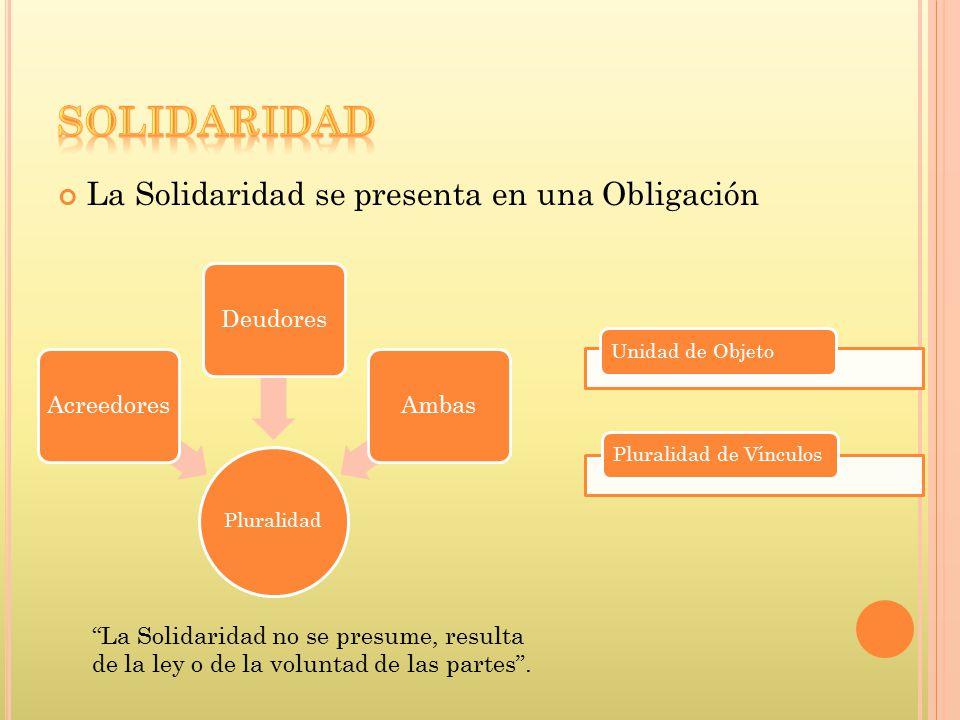 SOLIDARIDAD La Solidaridad se presenta en una Obligación