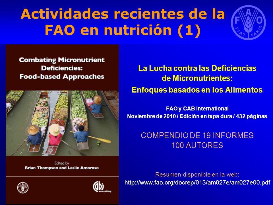Actividades recientes de la FAO en nutrición (1)