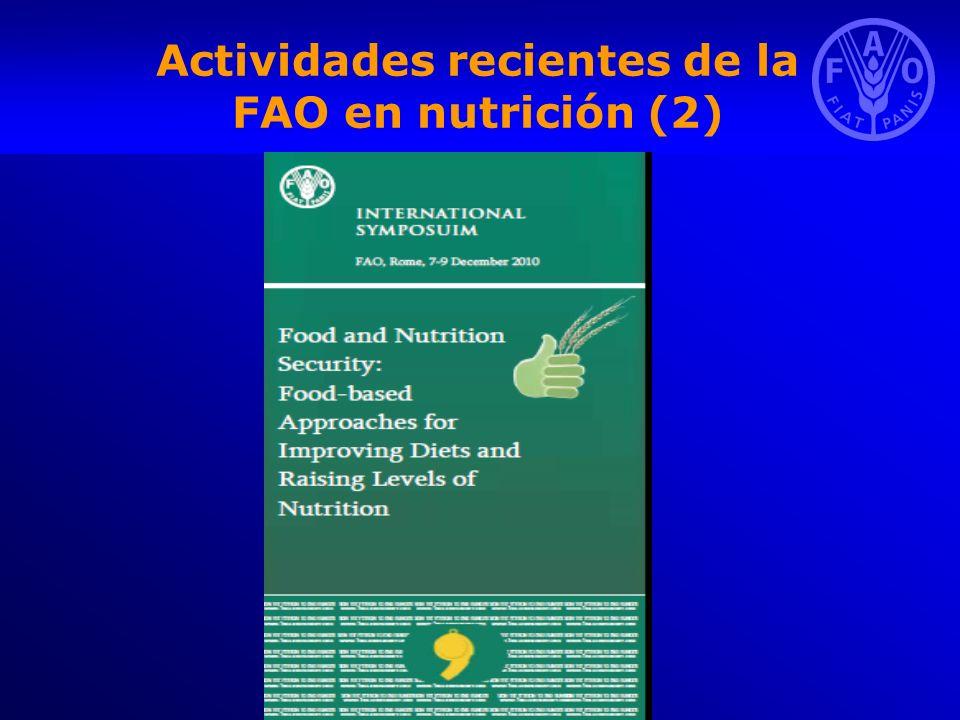 Actividades recientes de la FAO en nutrición (2)