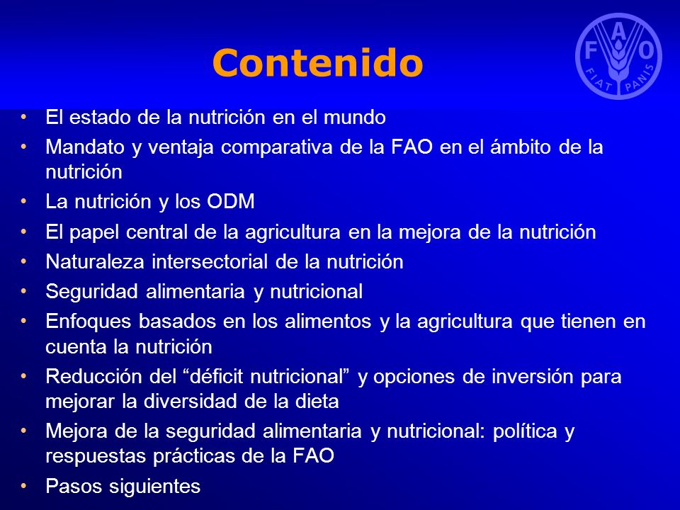 Contenido El estado de la nutrición en el mundo
