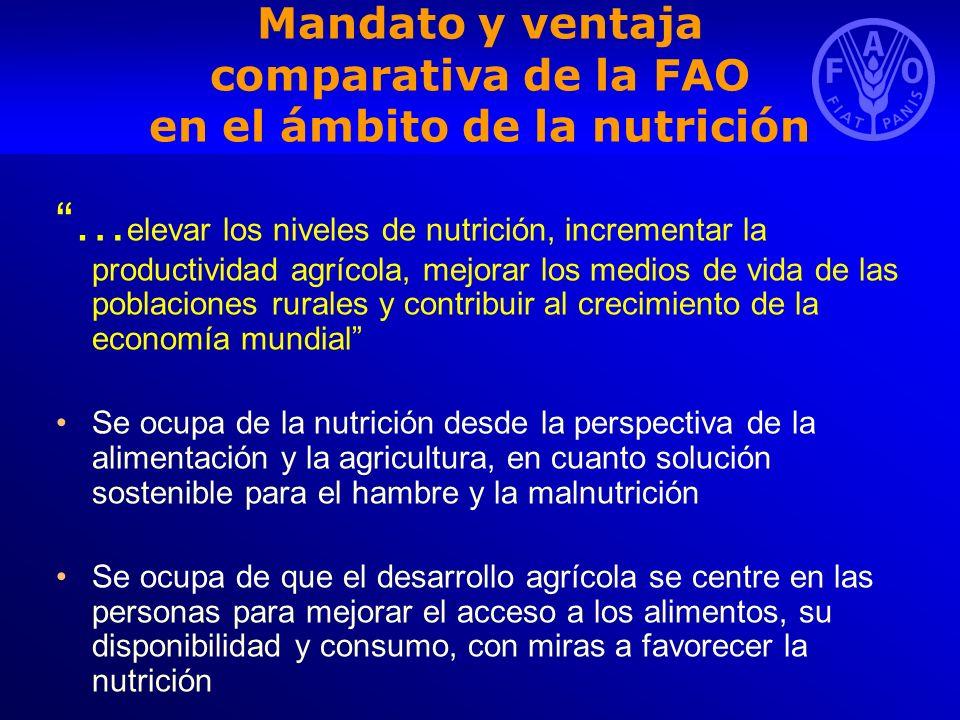 Mandato y ventaja comparativa de la FAO en el ámbito de la nutrición