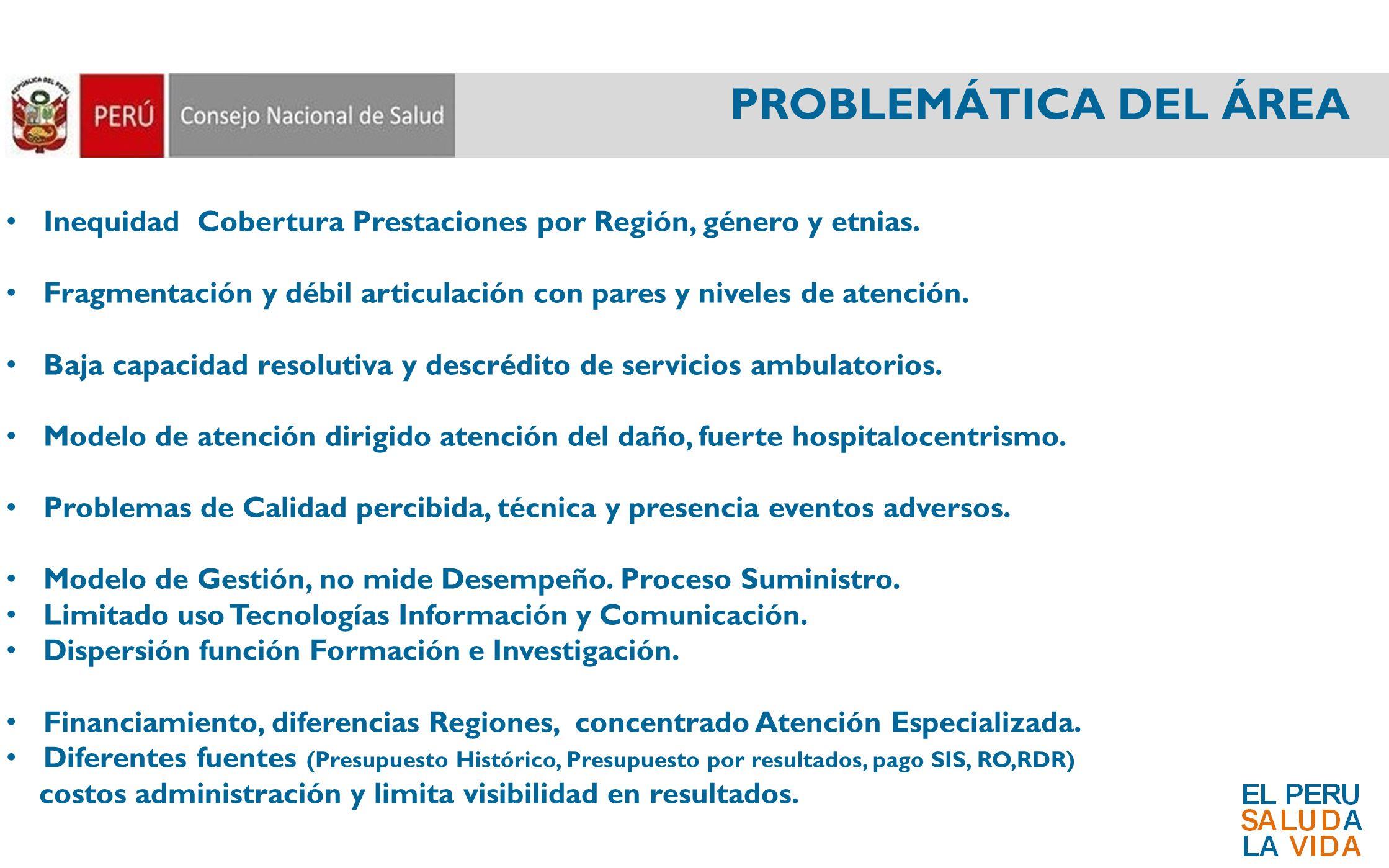 PROBLEMÁTICA DEL ÁREA Inequidad Cobertura Prestaciones por Región, género y etnias.