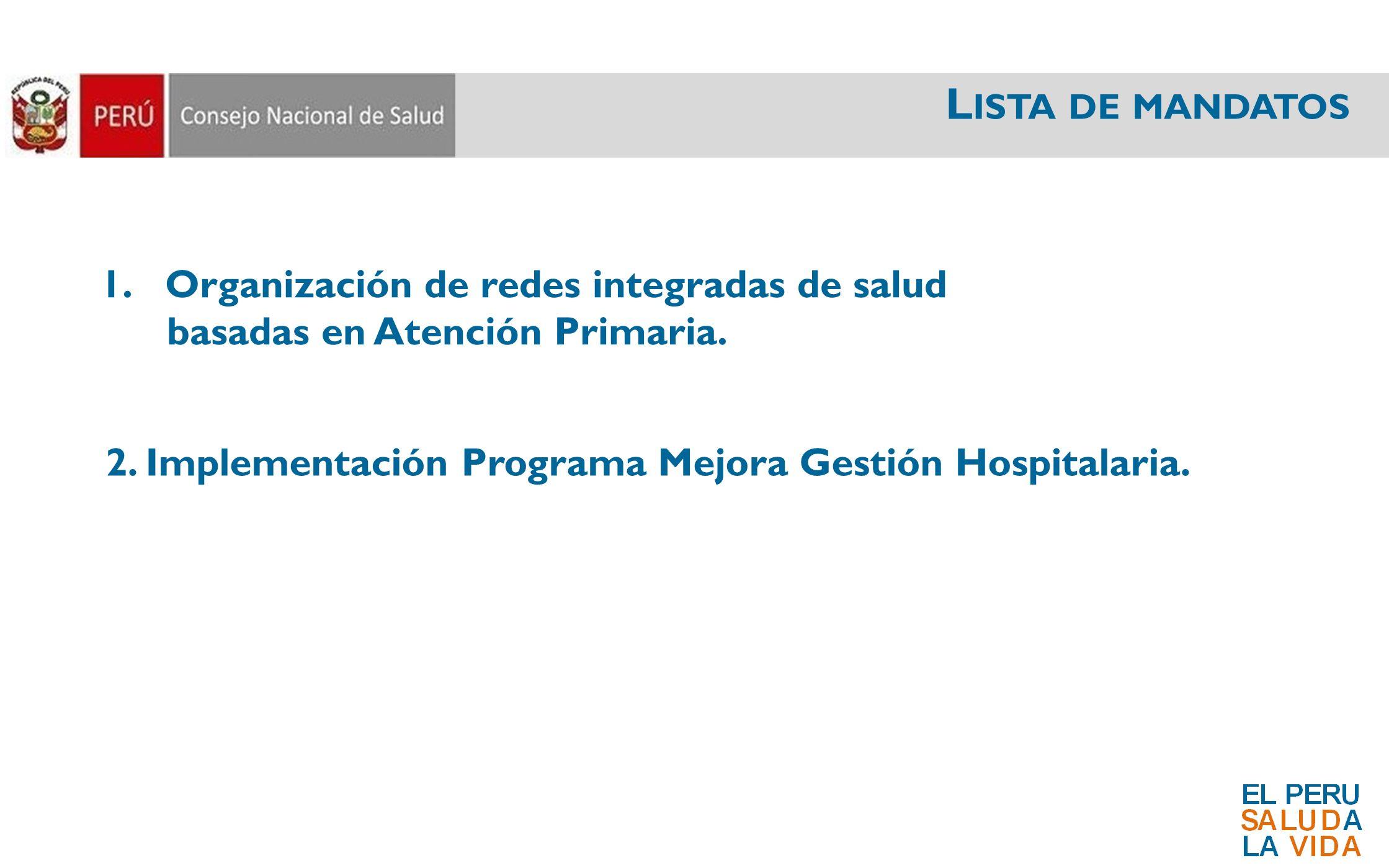 Lista de mandatos Organización de redes integradas de salud
