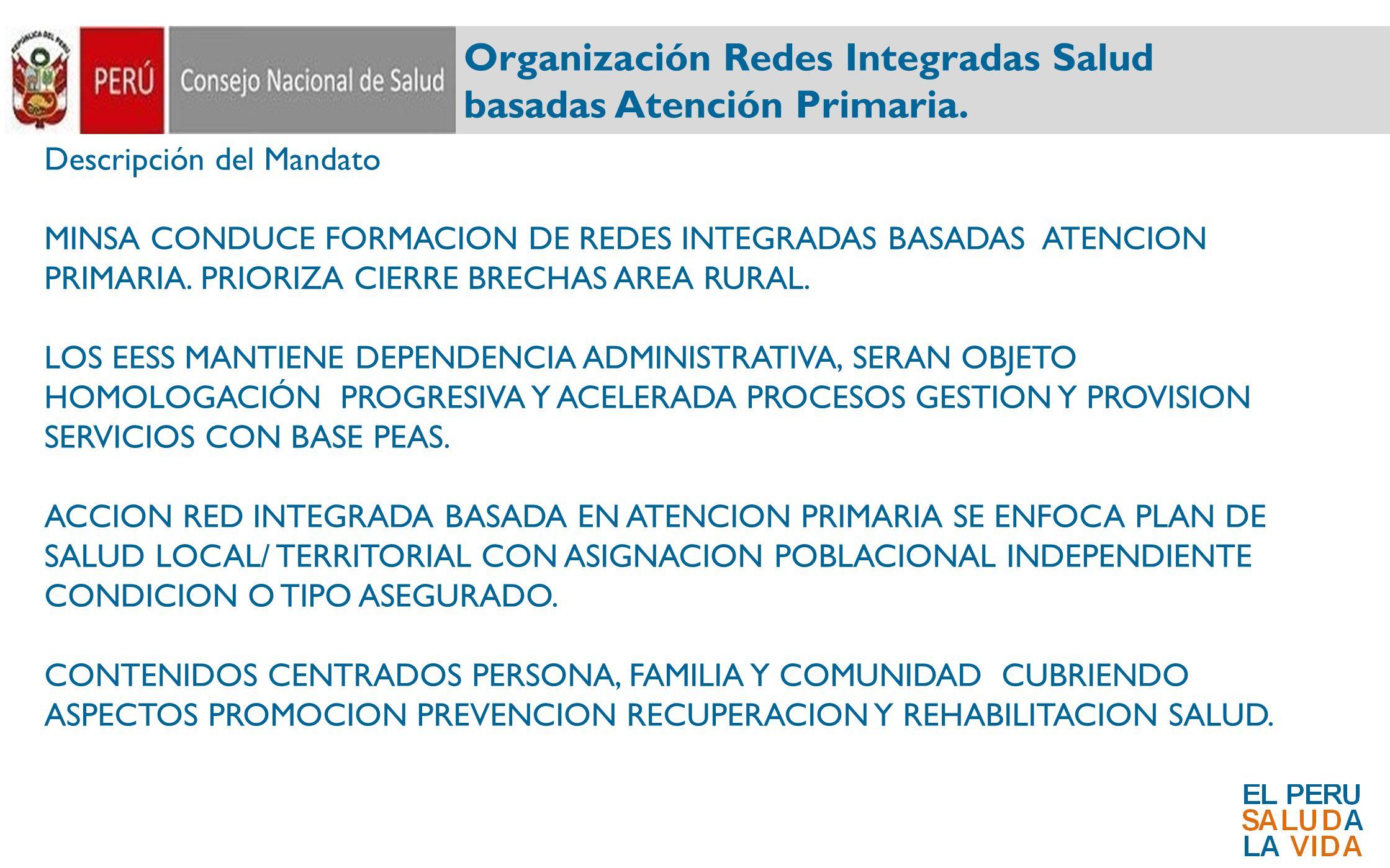Organización Redes Integradas Salud basadas Atención Primaria.