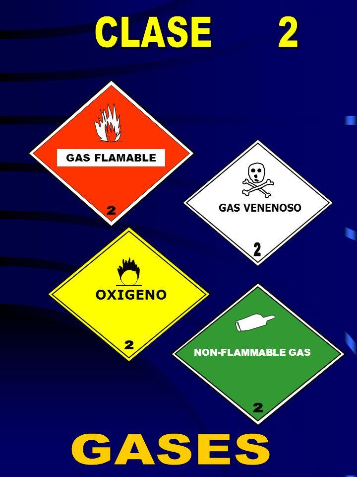 GASES CLASE 2 OXIGENO 2 2 GAS FLAMABLE GAS VENENOSO 2 2