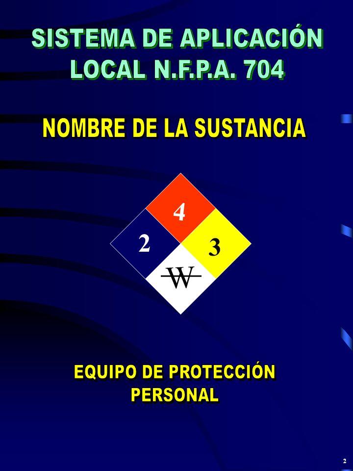 W 4 2 3 SISTEMA DE APLICACIÓN LOCAL N.F.P.A. 704