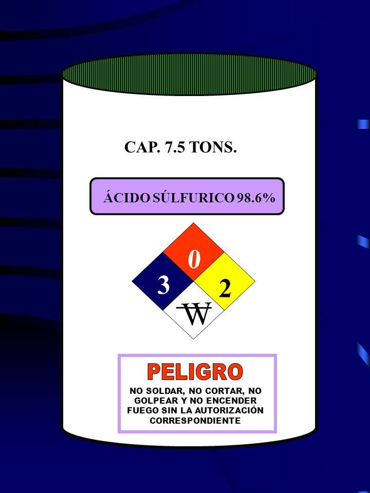 W 3 2 CAP. 705 TONS. CAP. 7.5 TONS. ÁCIDO SÚLFURICO 98.6% PELIGRO
