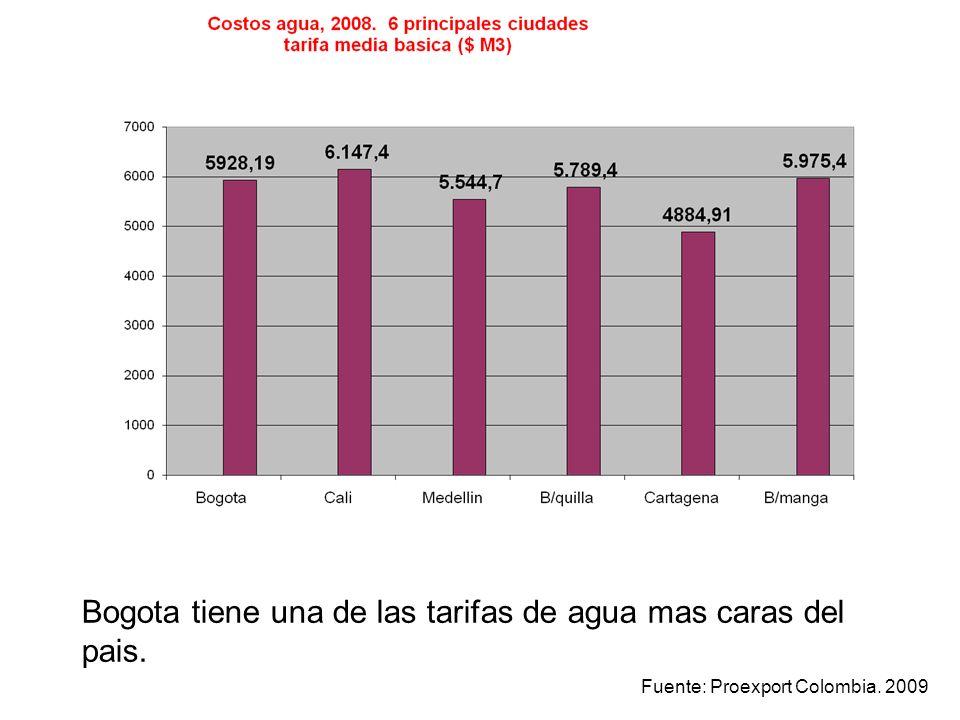 Bogota tiene una de las tarifas de agua mas caras del pais.
