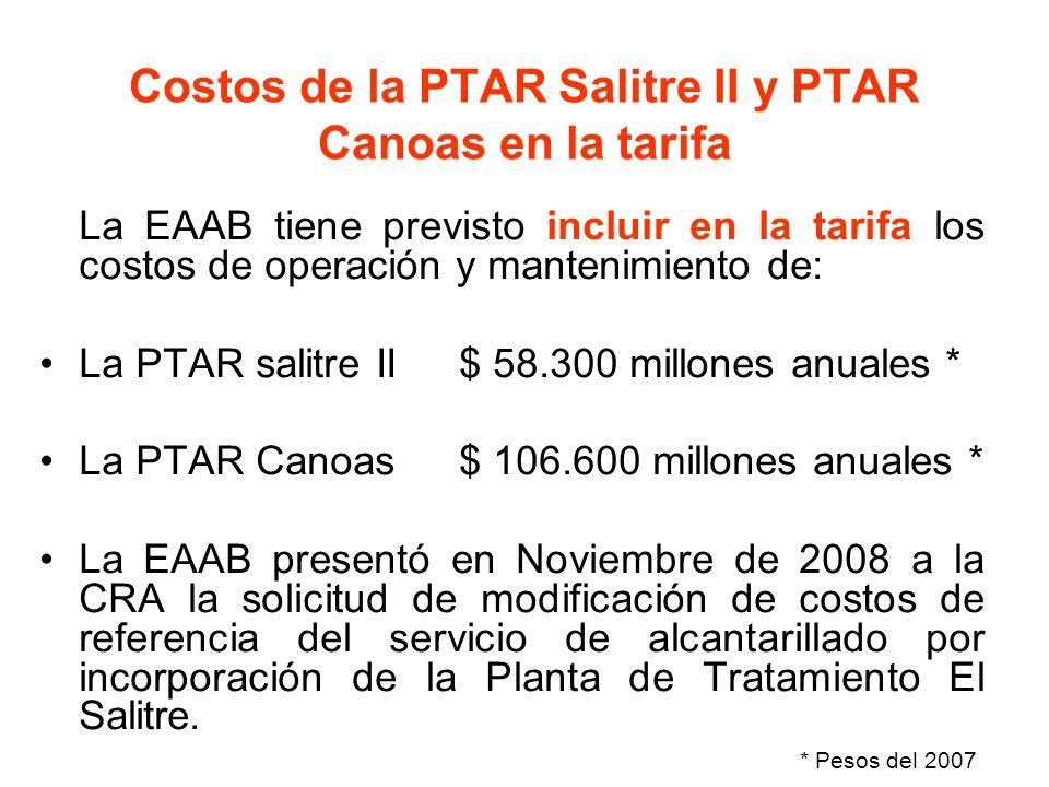 Costos de la PTAR Salitre II y PTAR Canoas en la tarifa