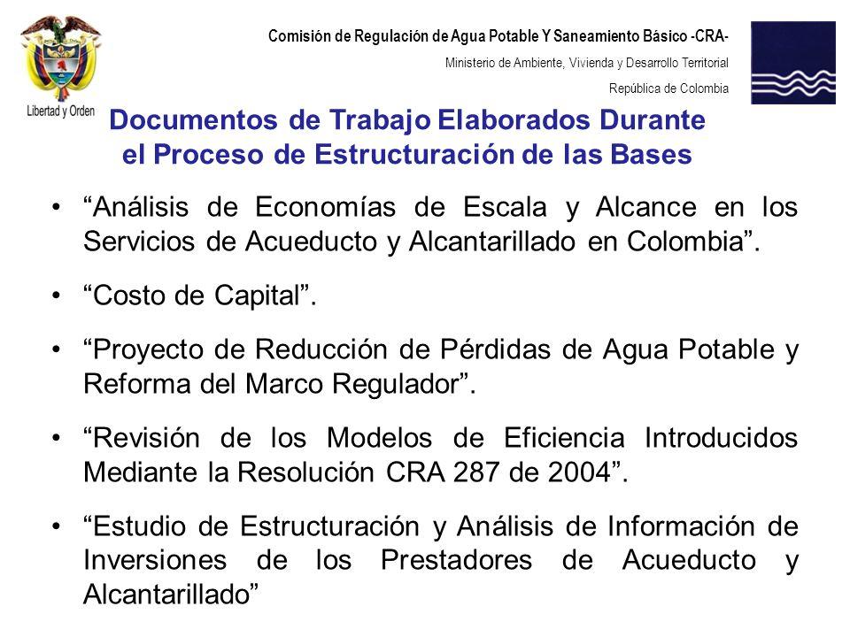 Documentos de Trabajo Elaborados Durante el Proceso de Estructuración de las Bases