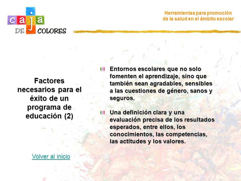 Factores necesarios para el éxito de un programa de educación (2)