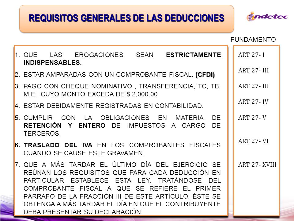Lisr Art 31 Requisitos De Las Deducciones Aspectos Relevantes De La Ppt Descargar