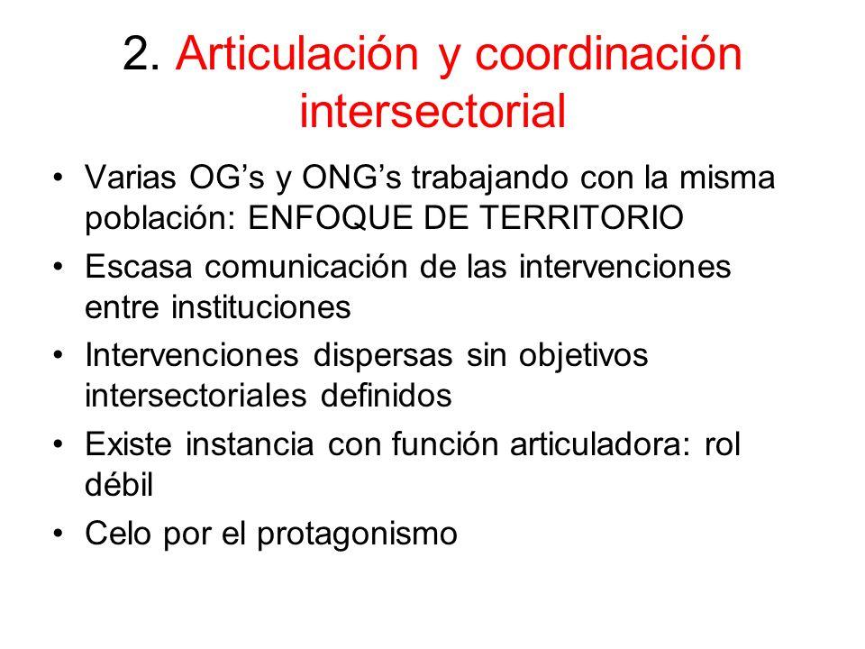 2. Articulación y coordinación intersectorial