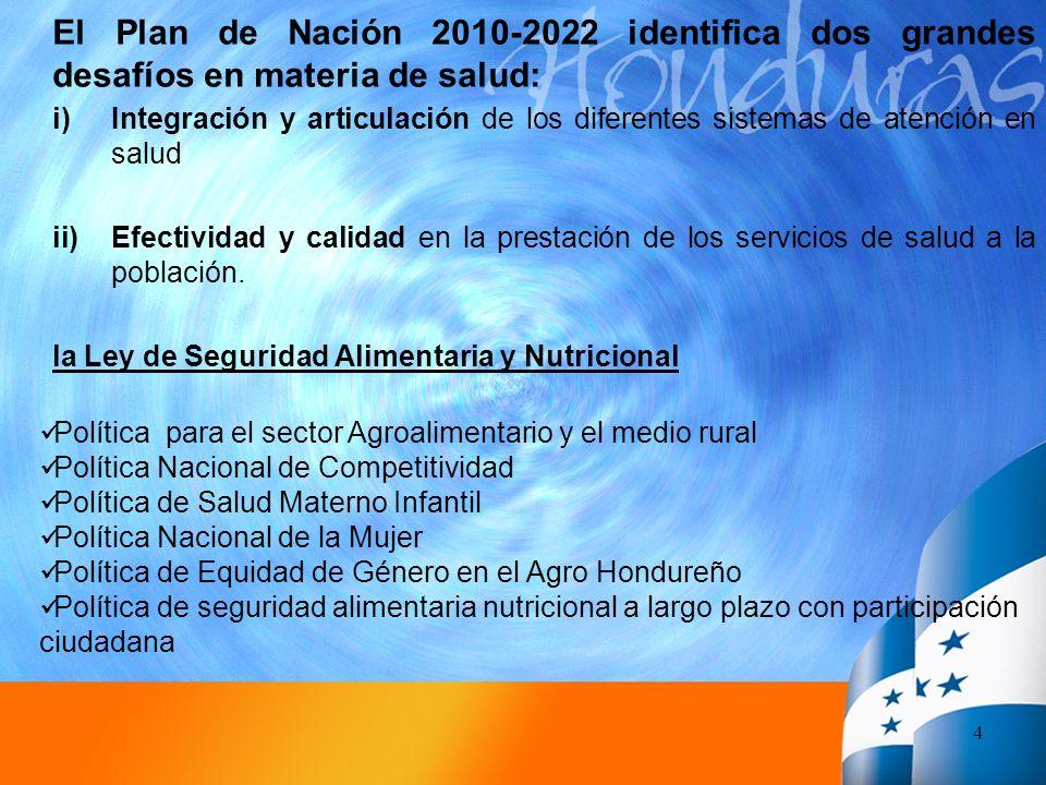 El Plan de Nación 2010-2022 identifica dos grandes desafíos en materia de salud: