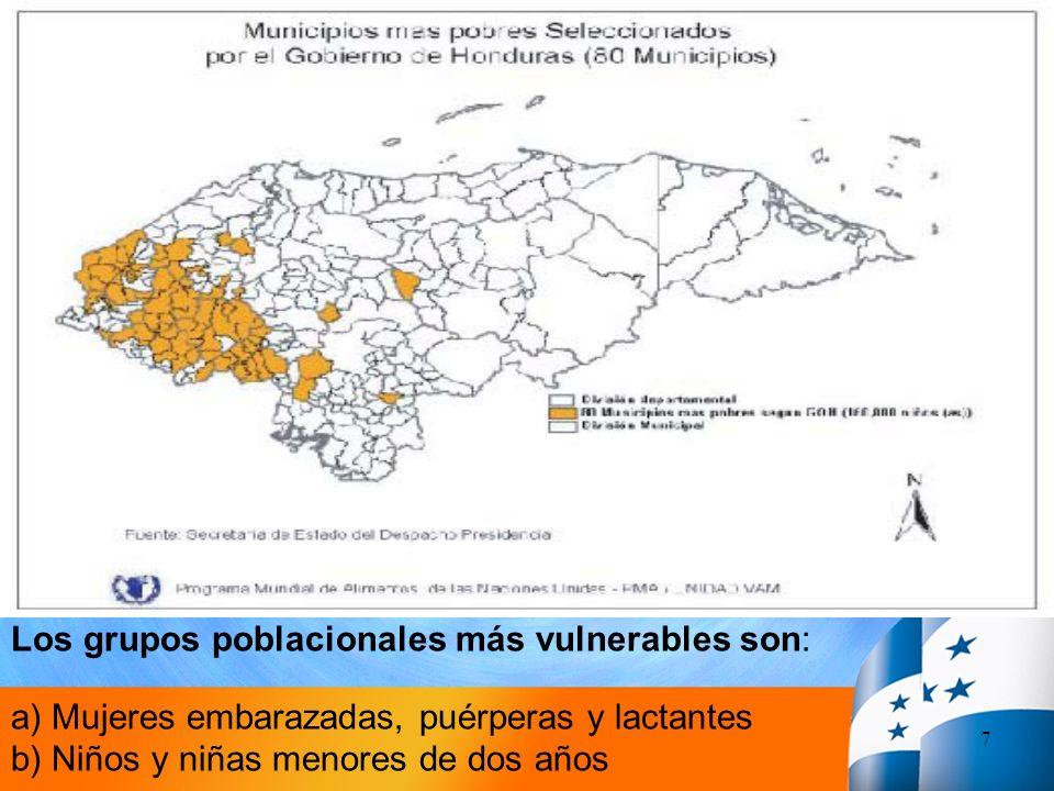 Los grupos poblacionales más vulnerables son: