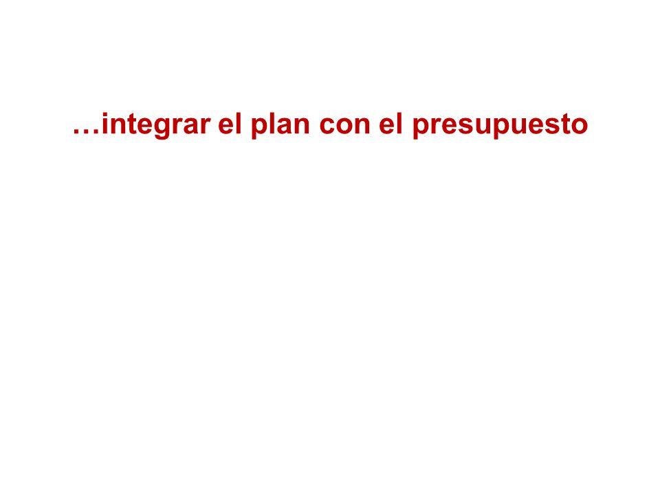 …integrar el plan con el presupuesto