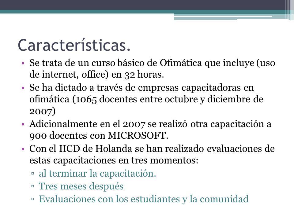 Características. Se trata de un curso básico de Ofimática que incluye (uso de internet, office) en 32 horas.