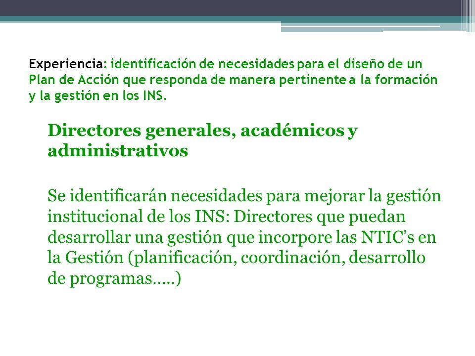 Directores generales, académicos y administrativos