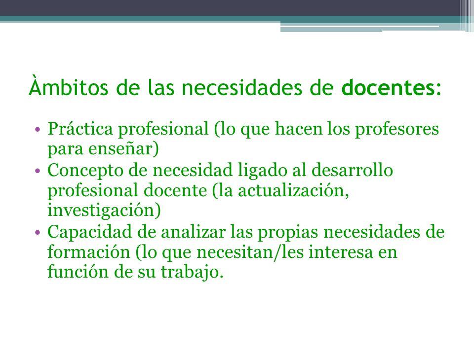Àmbitos de las necesidades de docentes: